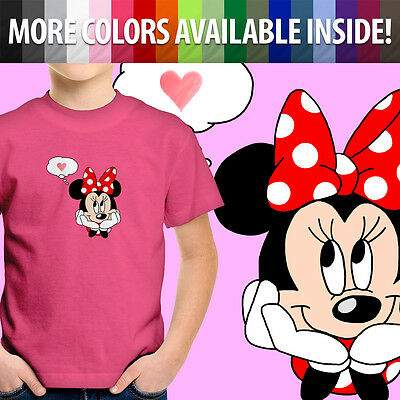 Minnie Mouse Love Mickey Heart Daydream Cute Toddler Kids Girl Tee Youth T-Shirt