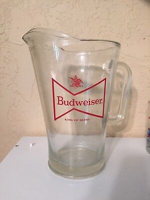 Vintage Budweiser Red Bow Tie Logo, Heavy Glass Beer Pitcher