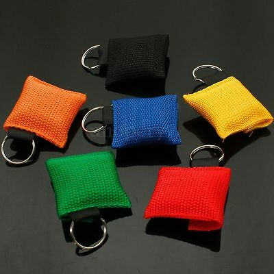 5PCS CPR Mask Resuscitator Keychain Key Ring Emergency First Aid Face Shield US
