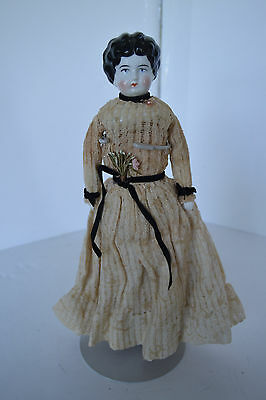 """Beautiful German Antique 12"""" China Head Doll Black Curled Hair Beige lace Dress"""