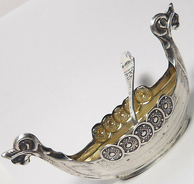 Vintage Scandinavian 830 Silver VIKING SHIP Salt Cellar & Spoon 16.1 Grams