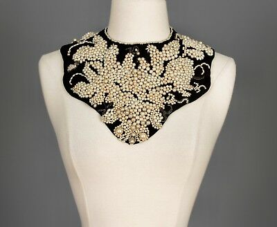 Auth. Vtg Elaborate Pearl Finished Collar Hand Sewn Three Dimensional