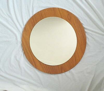 Large 2ft Wide Vintage Retro Teak Effect Circular Round Wall Mirror by Formwood