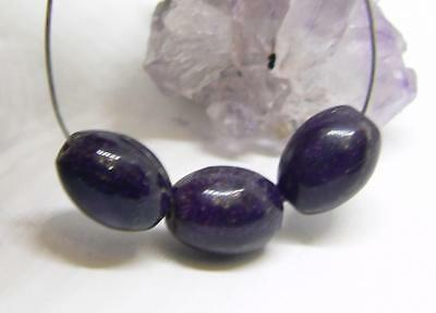 3 AFRICAN PURPLE SUGILITE OVAL EGG BEADS 9mm 10.8cts NATURAL UNTREATED AAA GEMS