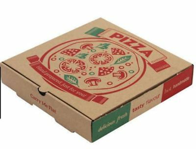 Premium Quality 9 INCH PIZZA BOX Take Away Fast Food Brown Printed Colour x 10