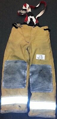 36x30 Pants Firefighter Turnout Bunker Fire Gear w/ Suspenders Liner Globe P694