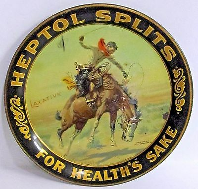 1904 HEPTOL SPLITS FOR HEALTH Laxatives tin litho tip tray CHARLES RUSSELL art