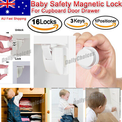 16 Sets Magnetic Cupboard Cabinet Drawer Safety Lock Latch Kids Proof AU