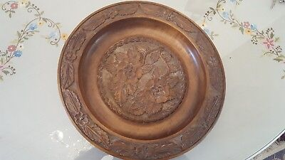 Vintage Wooden Hand Carved Decorative Wall Plate 45cm