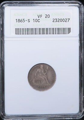 1865-S Liberty Seated Dime Silver 10C ANACS VF20 Toned