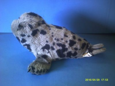 Black Spotted Grey Plush Seal Pup