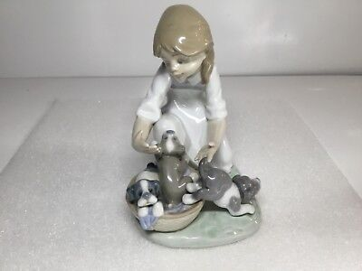 Lladro Joy in a Basket Girl with Puppy Dogs Gloss Finish Figurine 5595