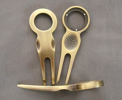 """1  BRONZE GOLF DIVOT TOOL, FIT MOST LARGER BALL MARKERS - OLD 1"""" + random MARKER"""