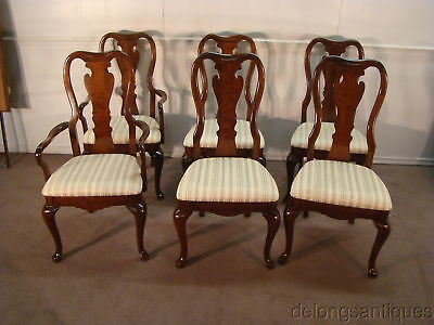 49453:Thomasville Collectors Cherry Set of 6 Queen Anne Dining Chairs