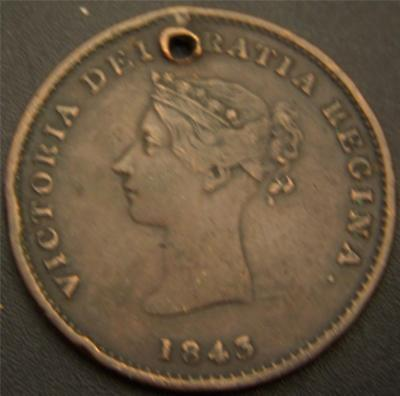 1843 Half Penny Token New Brunswick Canada - Hair and Crown Details Still Show