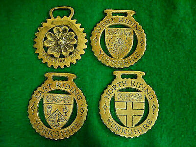 Lot Of 4 Brass Yorkshire Horse Medallions East, North, West Riding & Rose