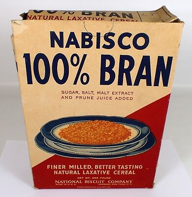 RARE Antique Vtg Nabisco 100% Bran A Natural Laxative Cereal Box Advertising