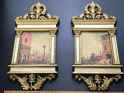 Pair Of Vintage Syroco Hollywood Regency French Wall Art Gold Plastic MoldFrames