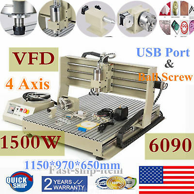 USB!1500W 4 Axis CNC Router Engravering Machine For Wood Acrylic 6090 Ball Screw