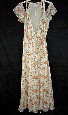 e77dedfd2b46 Privacy Please Womens Maxi Wrap Dress Cold Shoulder Lined Size Large BB195  NWT
