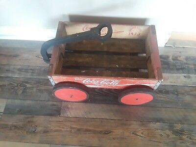 1973 Coke Crate Chattanooga  Hand Crafted To A Primitive Red Wagon Sturdy