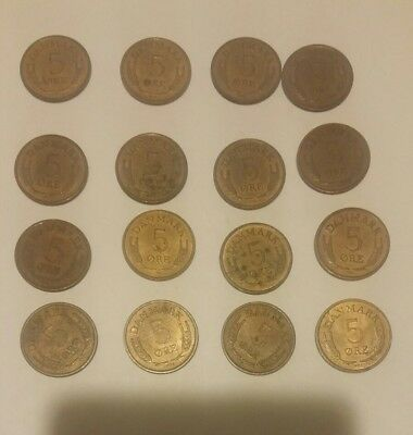 Vintage Norway Coin Lot - 5 Ore - 16 Coins - FREE SHIPPING