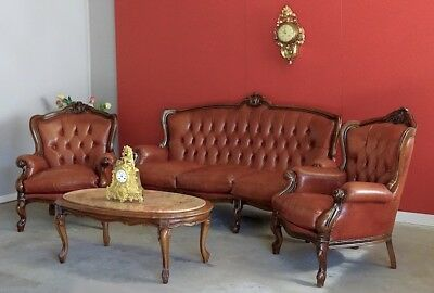Vintage French Sofa Set of 3 Office Dining Lounge Arm Chairs Leather Walnut