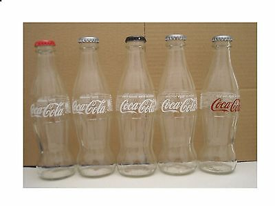 Cyprus-  Gr 2017  Full Series Coca Cola  5 Empty Glass Bottle & 5 Differed Caps