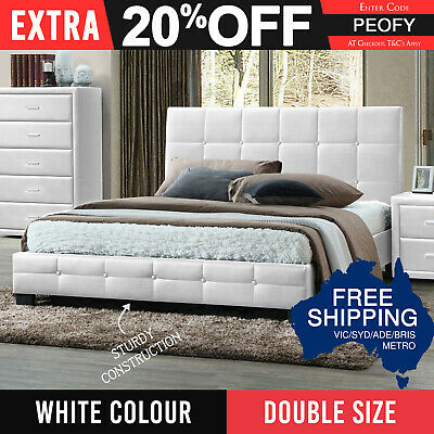 Bed Frame Double PU Leather Grid Patterns Slat Metal Joint Wood Legs White Soho