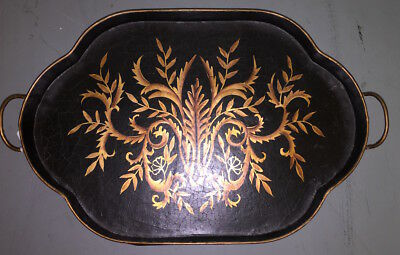 Vintage Gold Leaves Black Wood Serving Tray Curvy Footed 21 x 14 French