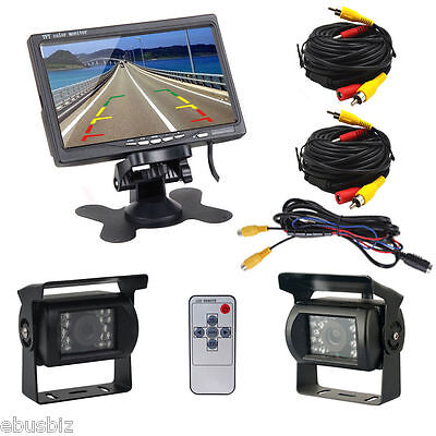 "For Bus Truck RV+7"" LCD Rear view Monitor+ 2x Night Vision Reverse Backup Camera"