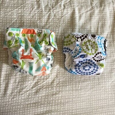 Lot of 2 Blueberry Simplex AIO Cloth Diaper Roundabout Newborn Size