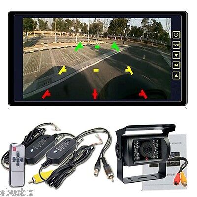 "Wireless Rear View Backup Camera Night Vision System+9"" Monitor For RV Truck Bus"