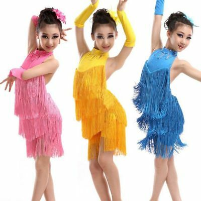 Kids Sequin Ballroom Fringe Latin Salsa Dance Competition Dress Dancing Costume