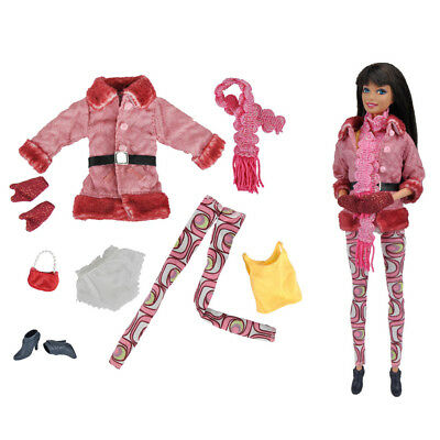 8Pcs/Set Fashion Doll Winter Outfit For Barbie FR Kurhn Doll Clothes AccessoryJR