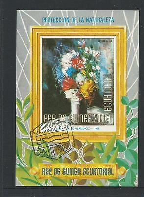 Flowers Mini Sheet  1  stamp  Used  Full Gum on Rear Value Here