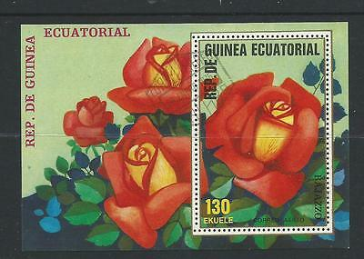 Roses  Mini Sheet  1 Red Rose  stamp  Used  Full Gum on Rear Value Here