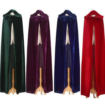 Medieval Velvet Hooded Cloak Wicca Long Robe Halloween Cosplay Costume Cape US