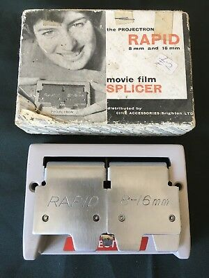 THE PROJECTRON RAPID 8mm & 16mm MOVIE FILM SPLICER IN IT'S ORIGINAL BOX