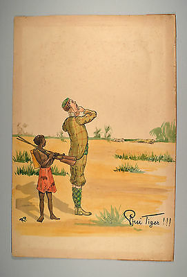 Rudolf Pick Pfui Tiger Lebel's Sport-Collection Giraffe um 1900 Original 38x59cm