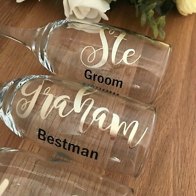 Bridal Party Personalised Champagne Flutes/ Glasses - Rose Gold, Blush, Mint