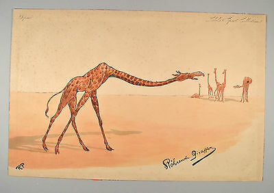 Rudolf Pick Röhrende Giraffen Lebel's Sport-Collection Giraffe um 1900 Original