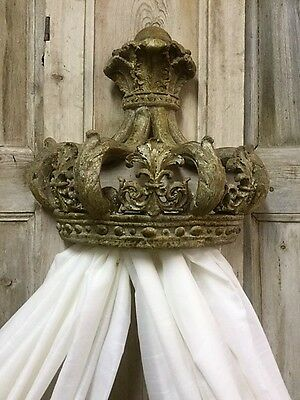 Antique French Chateaux Style Aged Crown 'Ciel D Lit' Bed Canopy