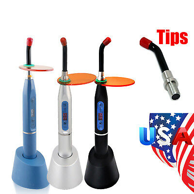 Dental Wireless Cordless LED Cure Curing Light Lamp 2000mw Toosl & Optional Tip