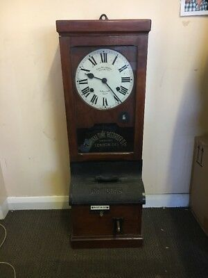 Antique 1913 ITR International Time Recorder Clocking In Clock Complete Working