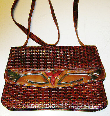 Lovely Vintage Hand Tooled Leather Arts & Crafts Purse With Strap Signed Gg ?