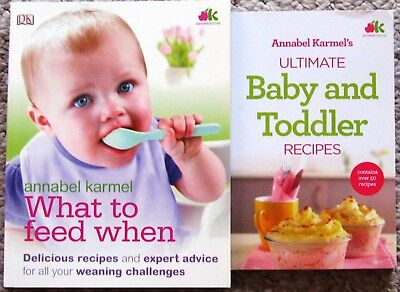 What to Feed When by Annabel Karmel and baby recipe book.  Excellent condition.
