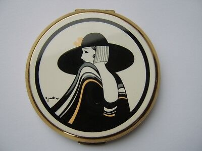 Beautiful Art Deco Lady Design Stratton Compact In Original Box Paers Etc