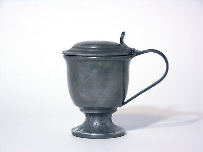 Antique Pewter Mustard Pot with Blue Insert