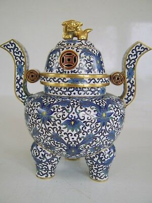 Extremely Fine Quality Beautiful Shape Chinese Cloisonne Censer Temple Lion Lid
